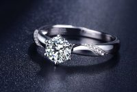 Stunning Flame Solitaire Engagement Ring Cubic Zirconia in White Gold Plated Sterling Silver