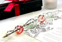 hand painted unique holiday blown glass pen