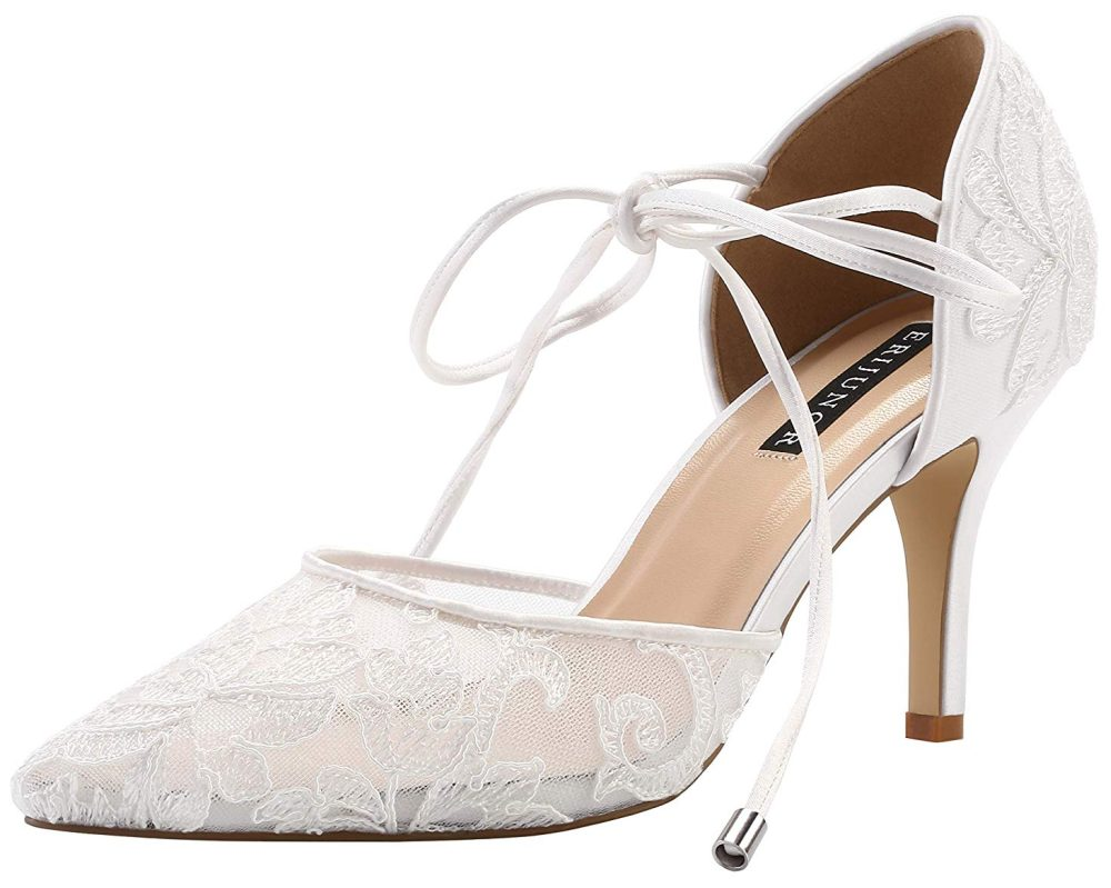 ivory lace mid heel bridal shoes