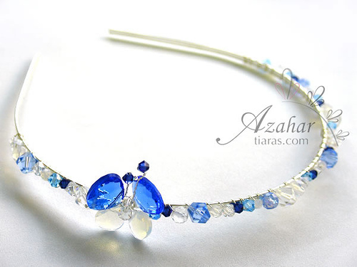 Aquamarine and Dark Sapphire Bridal Tiara with Crystal