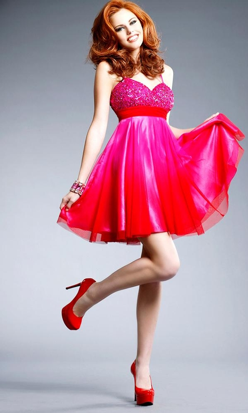 A Sexy Woman in Her Hot Pink Prom Dress