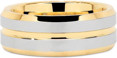 Mens Wedding Bands Gold Silver Two Tone