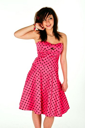 Rockabilly Hot Pink Strapless Polka Dot Pink Dress