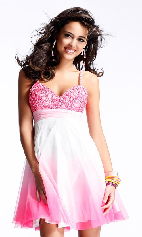A Pretty Woman in Short Sexy Pink Prom Dress
