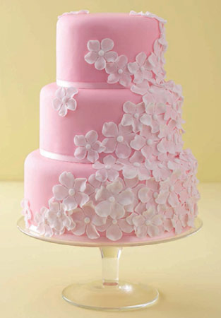 Delightful Pink Wedding Cake With Beautiful Design And Accessories