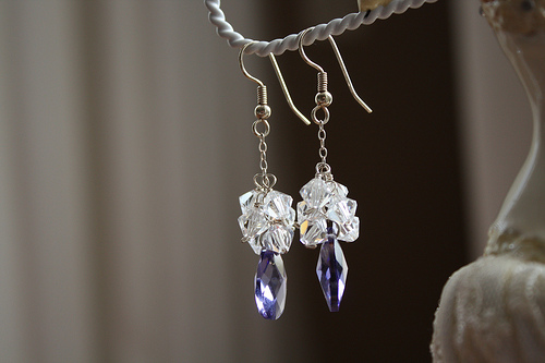 Drop Crystal and Blue Crystal Bridal Earrings