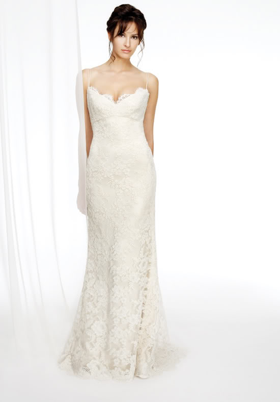Sexy Tank Embroidered Ivory Bridal Dress