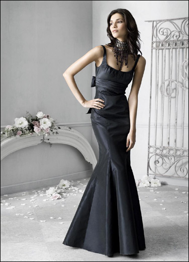 black evening wedding party dress