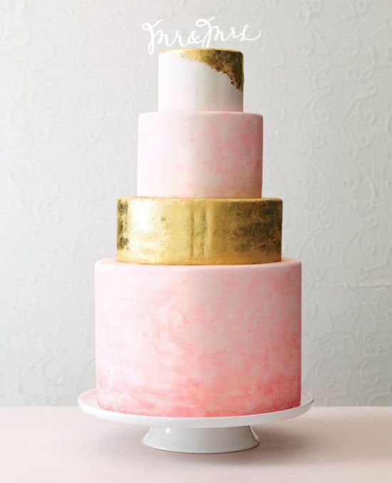 Beautiful Pink And Metallic Gold Wedding Cake By Sweet And Saucy Shop Shot By Philip Ficks