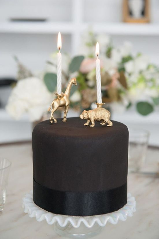 Chic Black Single Tier Wedding Cake By Brown Egg Bakery