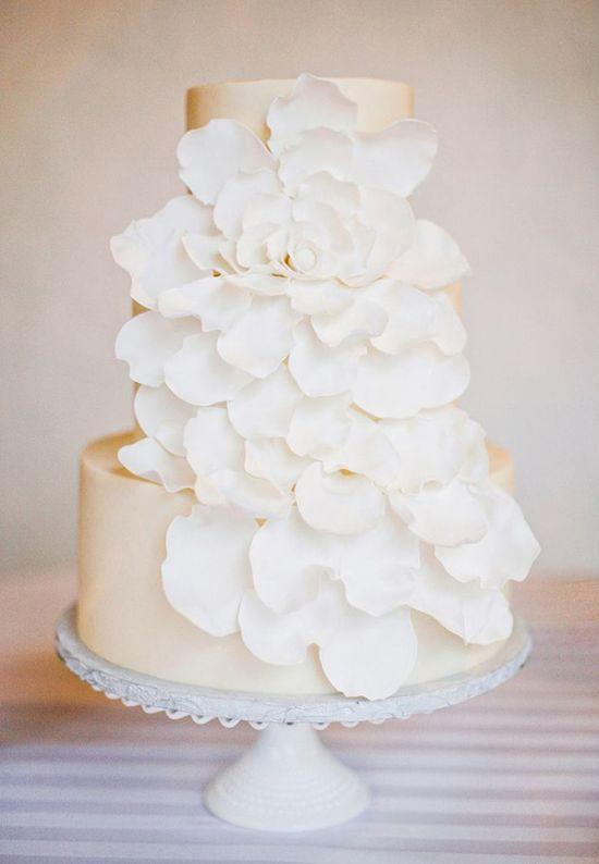 Elegant Tiered Wedding Cake With Ruffled Sugar Flowers By Sugar Bee Sweets
