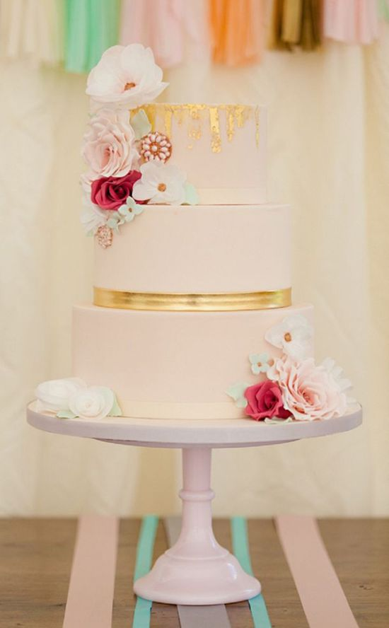 Girly Pink And Gold Tiered Wedding Cake By Amelie's Kitchen Shot By Ross Dean Photography
