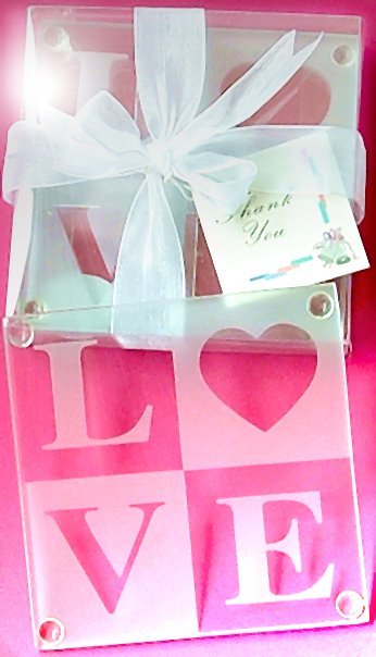 Love Glass Coasters Bridal Shower Gift Set
