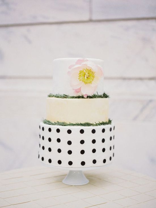 Modern Polka Dot Wedding Cake By A Cupcake A Day Shot By Studio Elle Photography