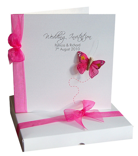 Wedding invitation cards model sang maestro bespoke flutter hot pink wedding invitation card stopboris Image collections