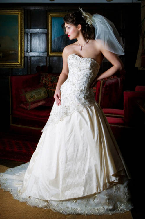 embroidered strapless white wedding dress