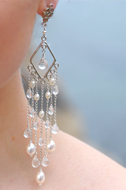 freshwater pearl and quartz chandelier earrings