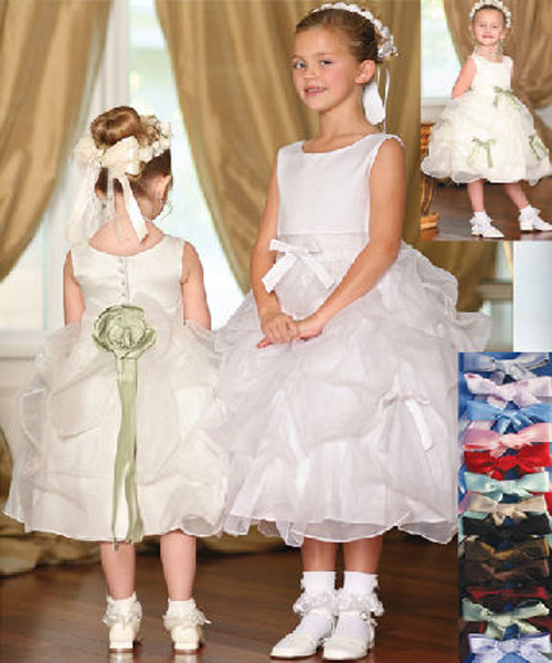 white embroidered kids prom dresses