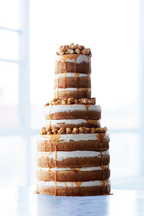 Naked Wedding Cake With A Caramel Dripping Sauce By Sweet Paul