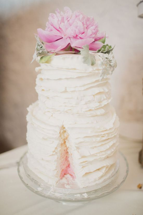 Ruffled Wedding Cake With Ombre Filling By Above And Beyond Cupcakes
