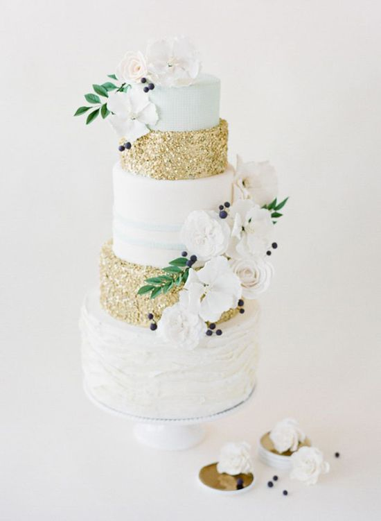 Subtle Blue And White Wedding Cake With Gold Glitter Tiers By Jenna Rae Cakes