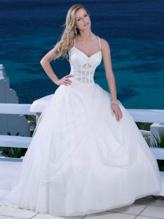 bridal ball gown spaghetti straps