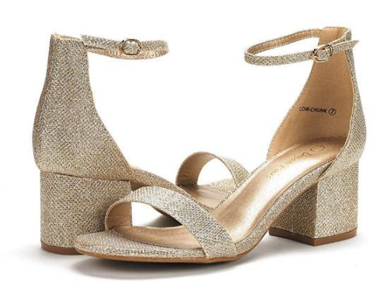Low-Chunk Low Heel Pump Sandals with Ankle Strap