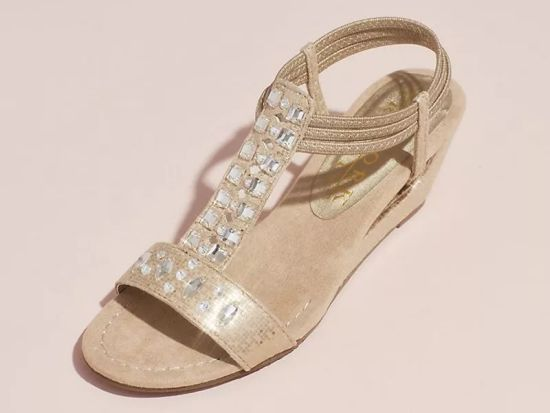 New York Transit Crystal T-Strap Wedge Wedding Sandals With Heel Cutout