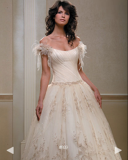 classic embroidered silk wedding gown