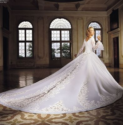 classic lace long train wedding gown