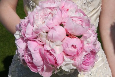 summer pink peonies wedding bouquet