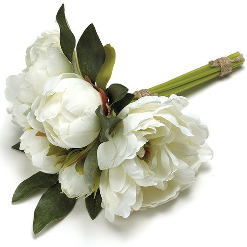 white peonies wedding bouquet with natural stems