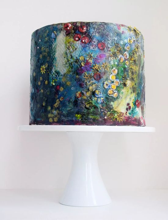 A Watercolor Bridal Shower Cake