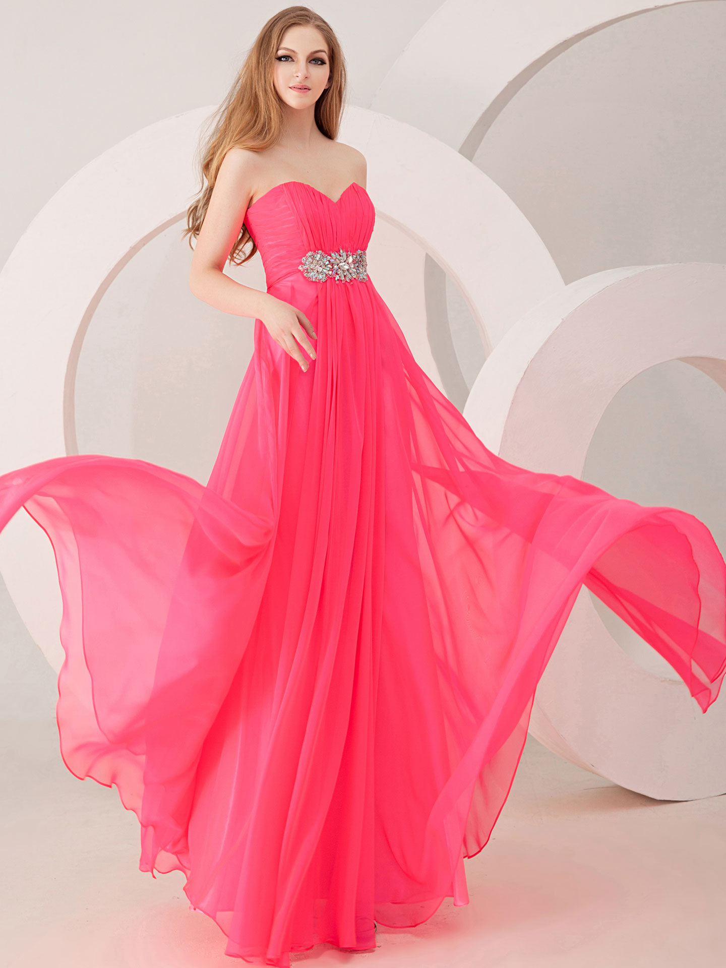 red pink prom dresses design