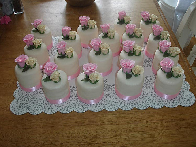 white bridal shower cakes with vanilla bean butter-cream