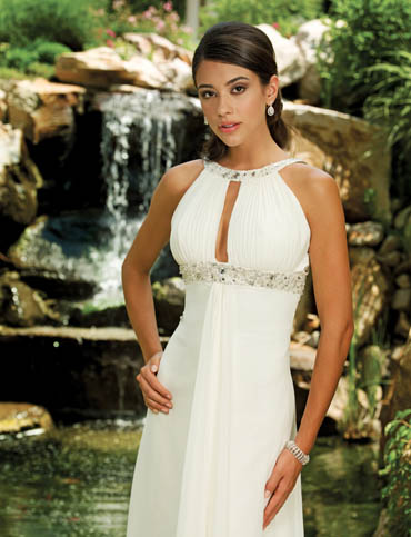 a line chiffon wedding dress with bateau neckline