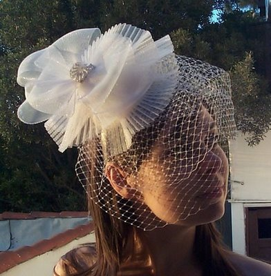 birdcage satin veil fascinator