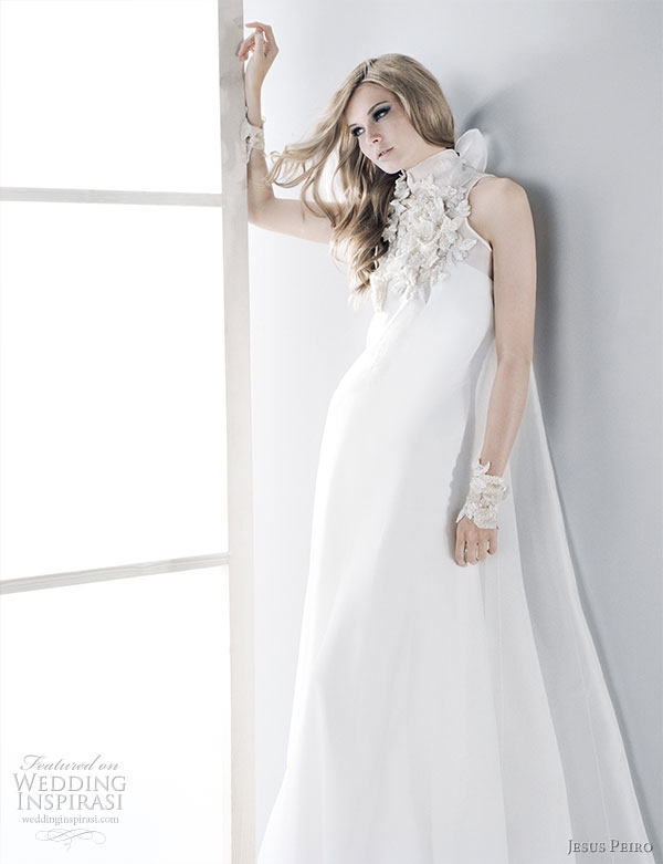 high collar neckline white satin wedding dress