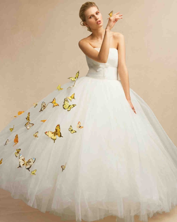 Butterfly Embellished Wedding Dress