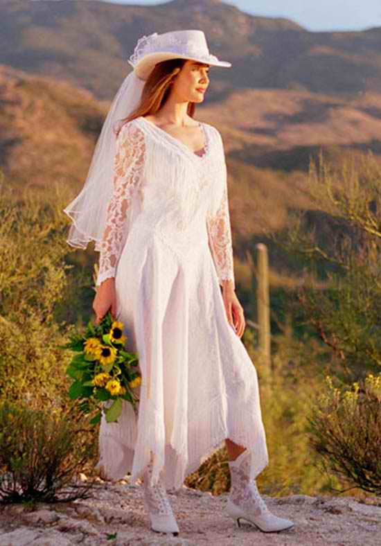 cowboy style white wedding dress