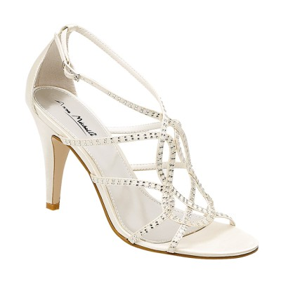 gorgeous ivory diamante strappy wedding shoes