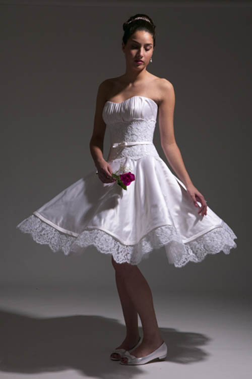 informal embroidered short wedding dresses