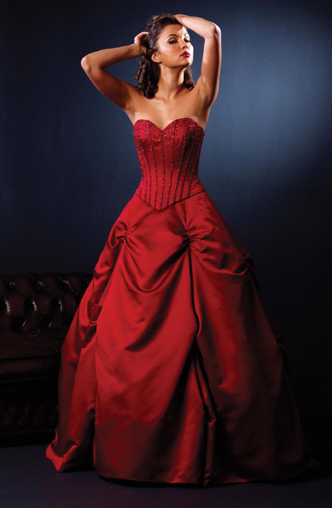 sexy red strapless wedding dress design
