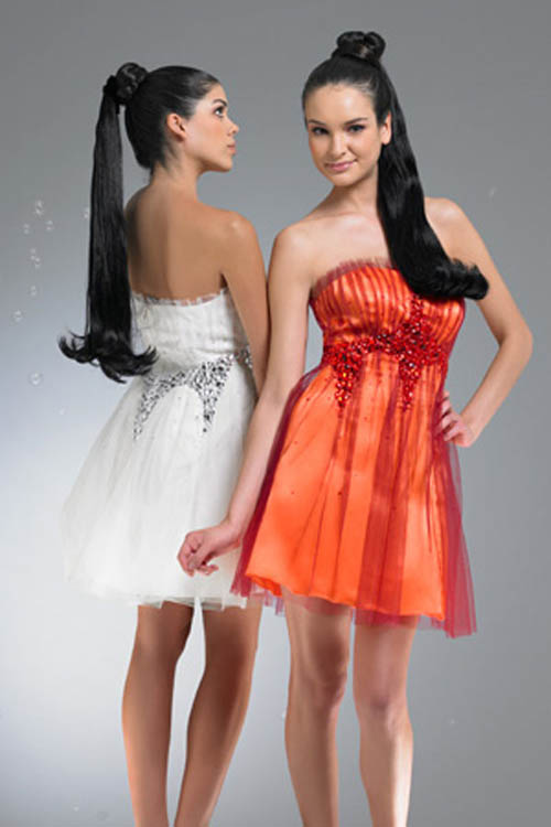 short elegant white and red prom dresses 2011