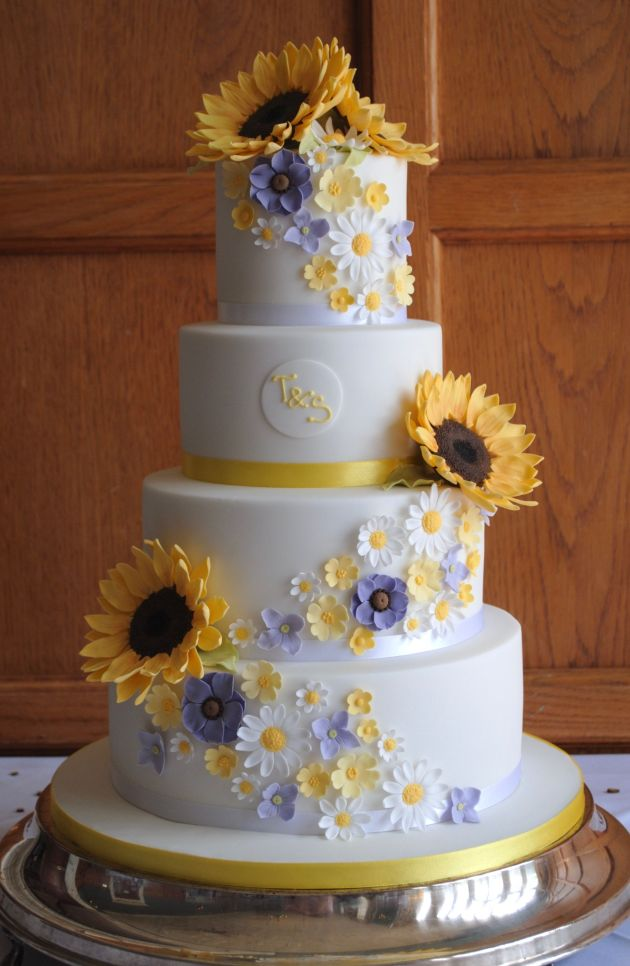 Floral Themed White Wedding Cake With Sunflowers