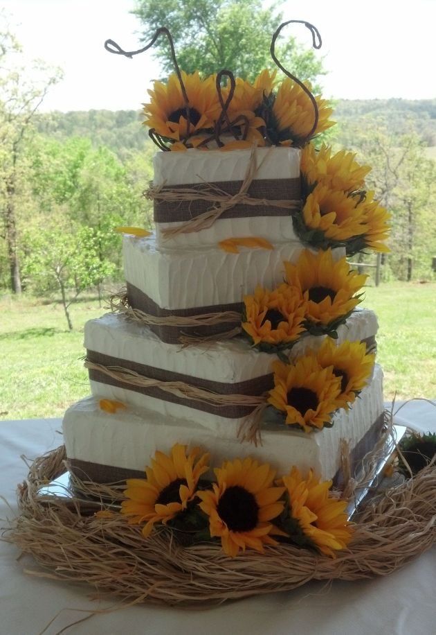 Rustic White Wedding Cake With Sunflowers