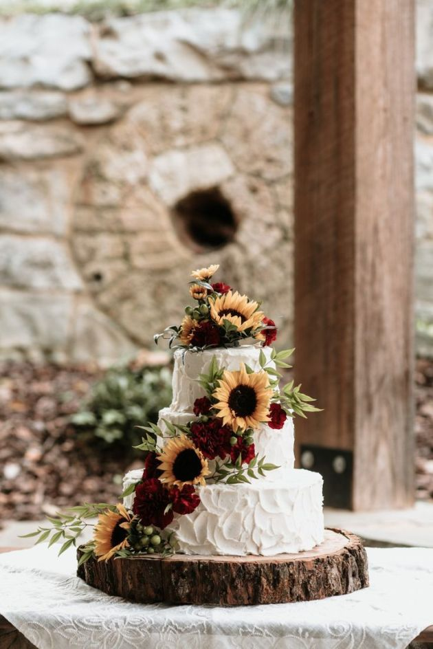 Small White Wedding Cake With Sunflowers