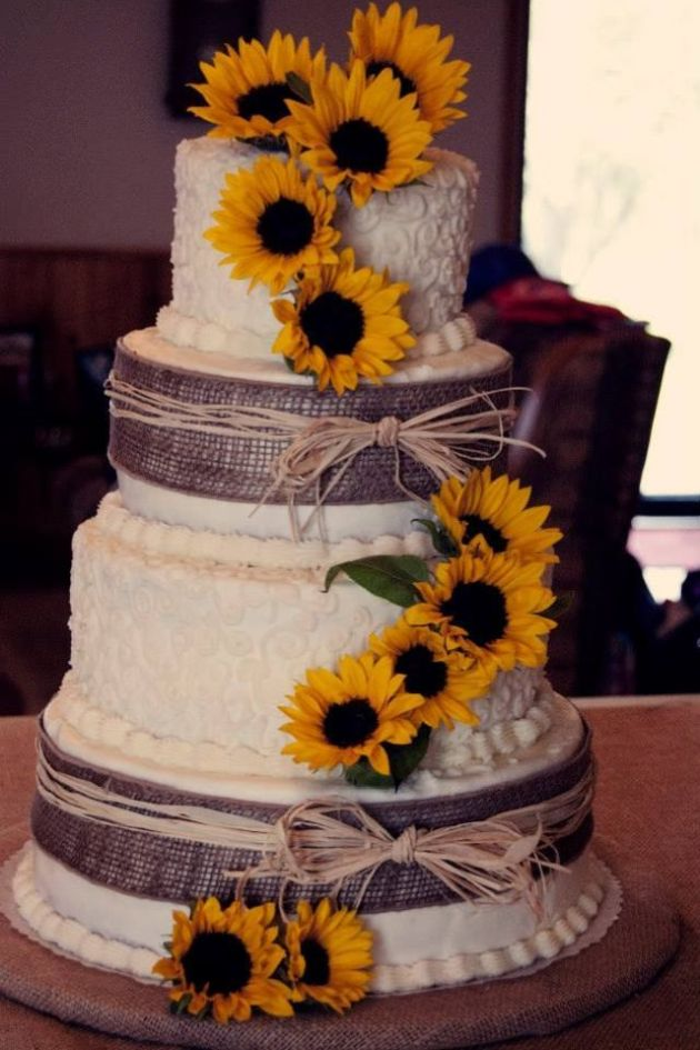 White Wedding Cake With Burlap And Sunflowers