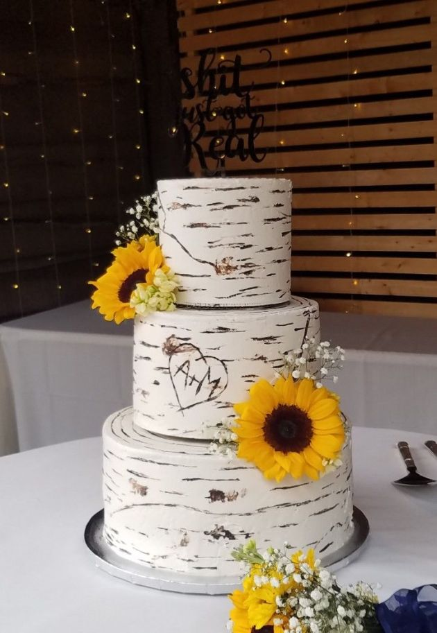 Wood Rustic White Wedding Cake With Sunflowers