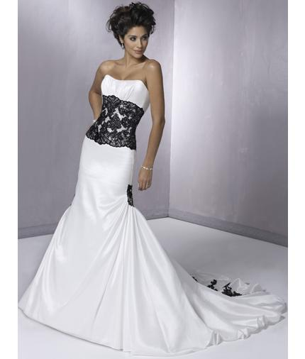White Wedding Dresses With Black Accents 110
